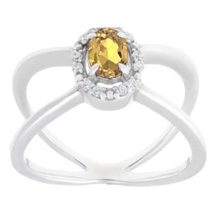 Yellow Sapphire September Birthstone Diamond Double Wave Stone Ring White Gold