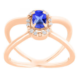 Tanzanite December Birthstone Diamond Double Wave Gemstone Ring In Rose Gold