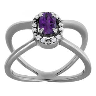 Amethyst February Birthstone Diamond Double Wave Ring Black Rhodium White Gold