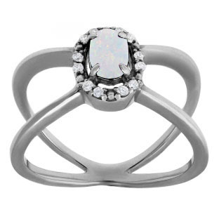 Opal October Birthstone Diamond Double Wave Ring Black Rhodium White Gold
