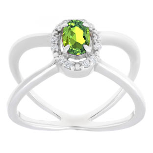 Peridot August Birthstone Diamond Double Wave Stone Ring In Sterling Silver
