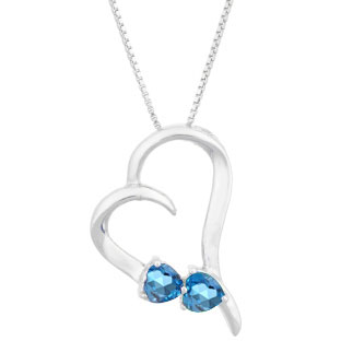 Two Stone Blue Topaz December Birthstone Heart Gemstone Pendant In White Gold