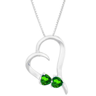 Two Stone Emerald May Birthstone Heart Gemstone Pendant In White Gold