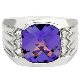 Large Men's Cushion Cut Amethyst Diamond Sterling Silver Ring