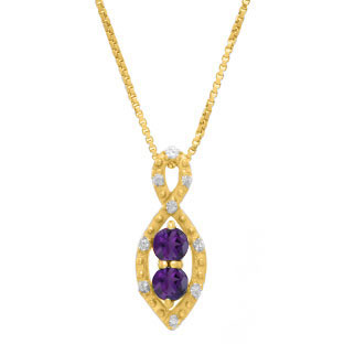 2-Stone Amethyst February Birthstone Infinity Diamond Pendant In Yellow Gold