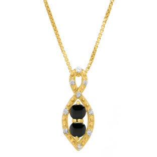 2-Stone Black Onyx Birthstone Infinity Diamond Pendant In Yellow Gold