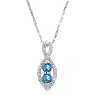 2-Stone Blue Topaz December Birthstone Infinity Diamond Pendant In White Gold