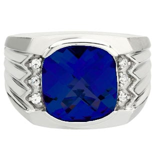 Large Men's Cushion Cut Sapphire Diamond Sterling Silver Ring