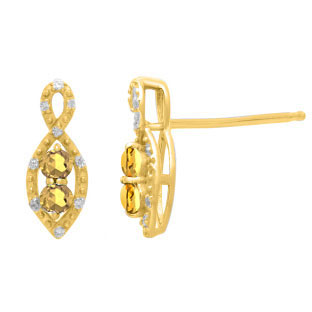 2-Stone Citrine November Birthstone Infinity Diamond Earrings In Yellow Gold