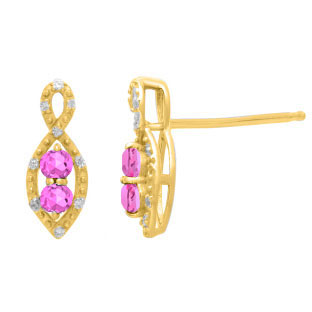 2-Stone Pink Sapphire June Birthstone Infinity Diamond Earrings In Yellow Gold