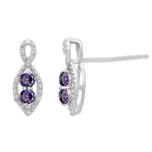 2-Stone Amethyst February Birthstone Infinity Diamond Earrings In White Gold