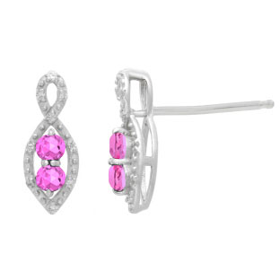 2-Stone Pink Sapphire June Birthstone Infinity Diamond Earrings In White Gold