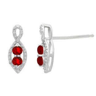 2-Stone Ruby July Birthstone Infinity Diamond Earrings In 925 Silver
