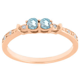 2-Stone Aquamarine March Birthstone Diamond Ring In Rose Gold