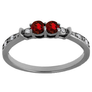 2-Stone Garnet January Birthstone Diamond Ring In Black Rhodium White Gold
