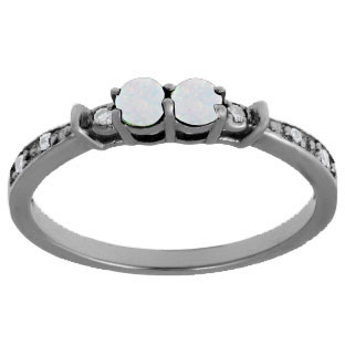 2-Stone Opal October Birthstone Diamond Ring In Black Rhodium White Gold