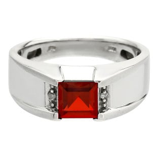 Diamond and Square Ruby Men's Sterling Silver Ring