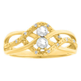 Diamond 2-Stone CZ April Birthstone Infinity Ring In Yellow Gold