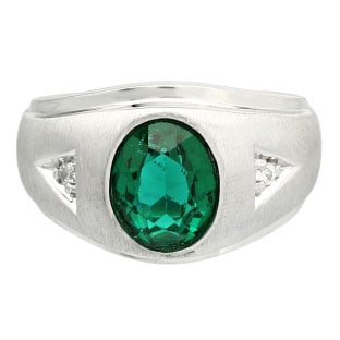 Diamond and Oval Green Tourmaline Gemstone Men's Sterling Silver Ring