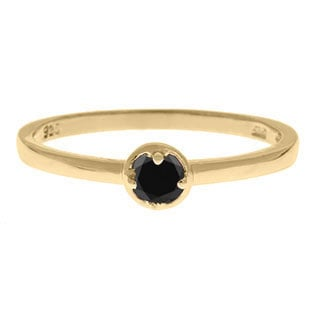 Yellow Gold Personalized 3MM Black Diamond Stackable Ring