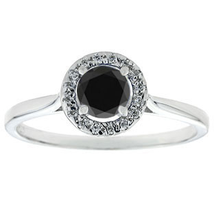 5MM Round .50 CT TW Black Diamond and White Diamond Halo Ring In White Gold