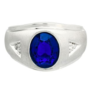 Diamond and Oval Sapphire Gemstone Men's Sterling Silver Ring