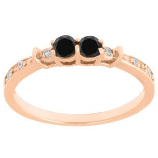 2-Stone Black Diamond White Diamond Ring In Rose Gold