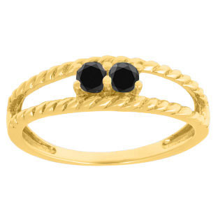 Personalized 2-Stone Black Diamond Twisted Texture Ring In Yellow Gold