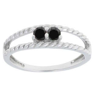 Personalized 2-Stone Black Diamond Twisted Texture Ring In Sterling Silver