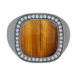 Mens Big Tiger Eye Diamond Signet Ring In Black Gold By Gemologica