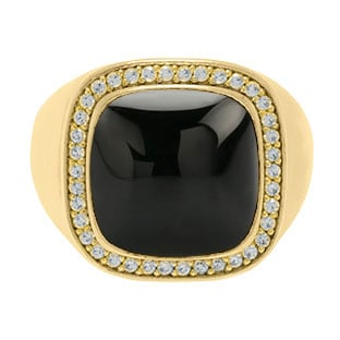 Mens Big Black Onyx Diamond Signet Ring In Yellow Gold By Gemologica