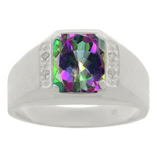 White Gold and Diamond Men's Mystic Fire Topaz Octagon Cut Ring