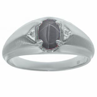 Sterling Silver Diamond Grey Star Sapphire Ring For Men By Gemologica