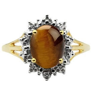 Diamond Tiger Eye Gemstone Yellow Gold Starburst Ring By Gemologica
