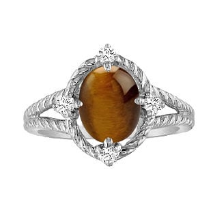 Oval Cut Tiger's Eye Diamond White Gold Braided Ring By Gemologica