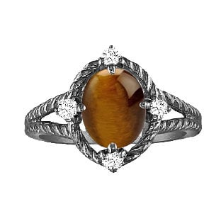 Oval Cut Tiger's Eye Diamond Black Rhodium White Gold Braided Ring By Gemologica