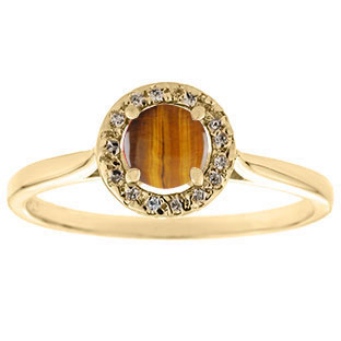 Halo Jewelry - Tiger Eye Stone Diamond Halo Ring In Yellow Gold by Gemologica