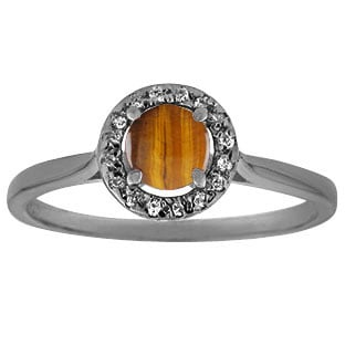Halo Jewelry - Tiger Eye Stone Diamond Halo Ring In Black Gold by Gemologica
