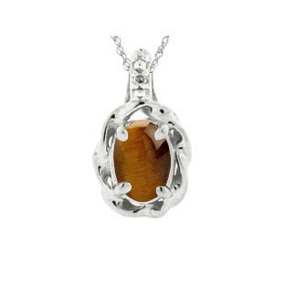 White Gold Diamond Oval Tigers Eye Stone Pendant by Gemologica