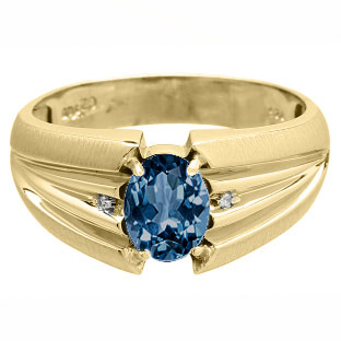 Oval Cut London Topaz Stone Diamond Men's Gold Ring