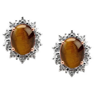Diamond Oval Tiger Eye Gemstone Rose Gold Starburst Earrings by Gemologica