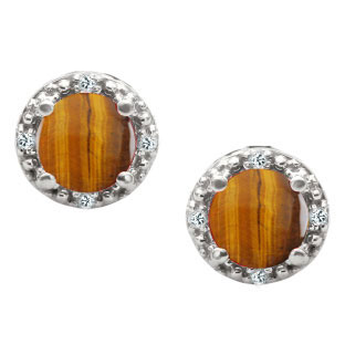 Round Cut Tiger Eye Birthstone Diamond White Gold Stud Earrings by Gemologica