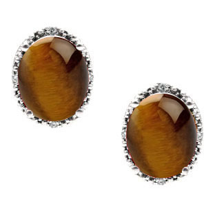 Simple Oval Tiger Eye Diamond 925 Silver Stud Earrings For Women by Gemologica