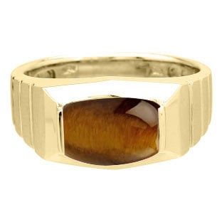 Barrel-Cut Tiger Eye Stone Ring For Men In Yellow Gold by Gemologica Jewelry
