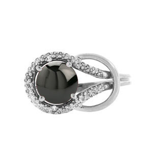 Diamond Sterling Silver Black Star Sapphire Love Knot Ring by Gemologica Jewelry