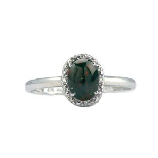 Diamond and Oval Bloodstone White Gold Ring by Gemologica Jewelry