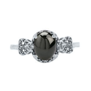 Diamond Oval Black Star Sapphire Gemstone White Gold Ring by Gemologica Jewelry