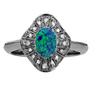 Diamond Australian Opal Stone Ballerina Ring In Black Gold by Gemologica