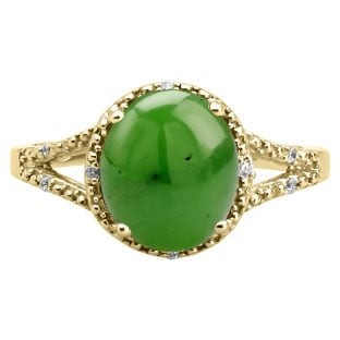 Simple Oval Cut Jade Diamond Yellow Gold Ring For Women By Gemologica