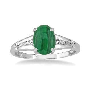 Sterling Silver Oval Cut Malachite Diamond Womens Ring By Gemologica